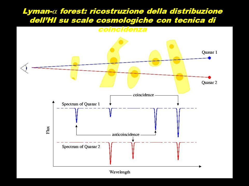 Lyman-a forest: ricostruzione della distribuzione dell'HI su scale cosmologiche con tecnica di coincidenza