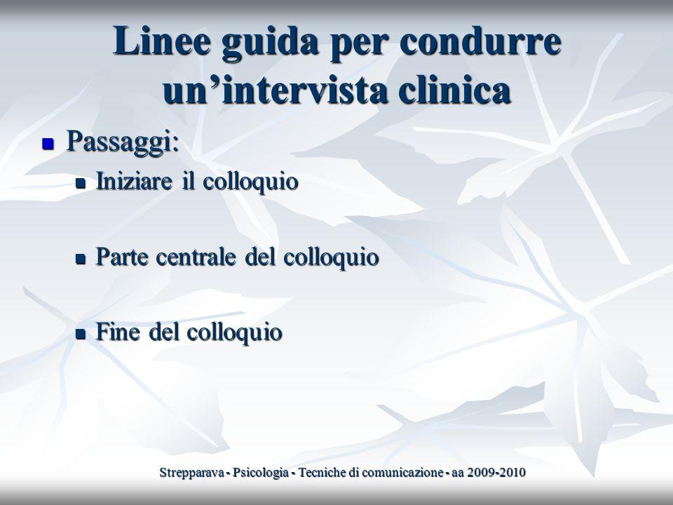 Linee guida per condurre un'intervista clinica