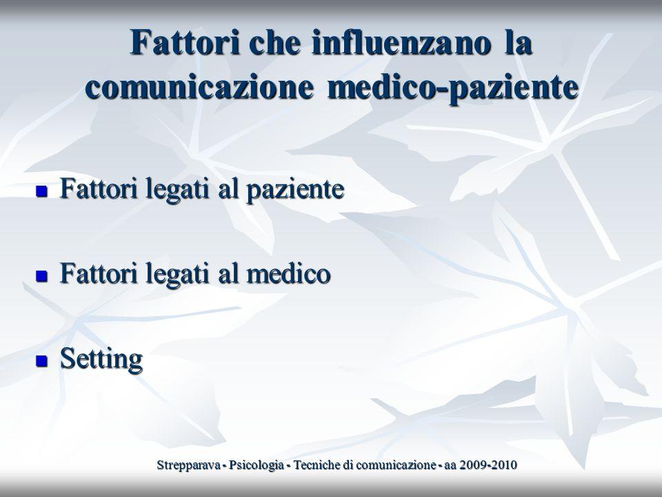 Fattori che influenzano la comunicazione medico-paziente