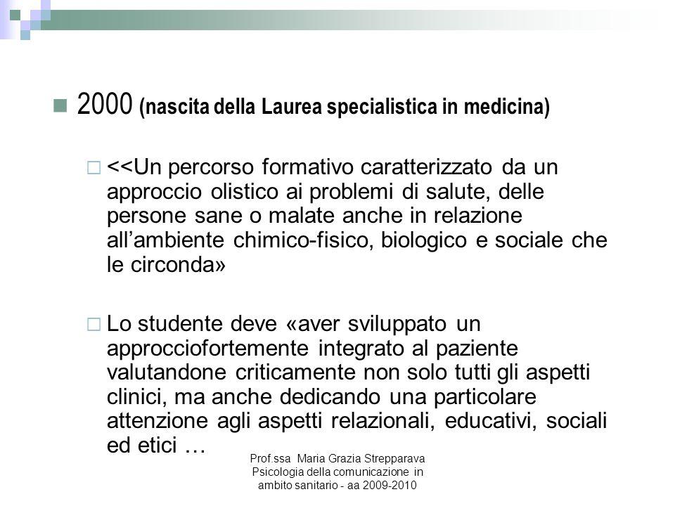 2000 (nascita della Laurea specialistica in medicina)