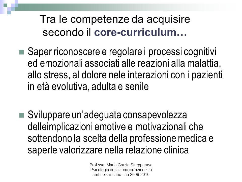Tra le competenze da acquisire secondo il core-curriculum…
