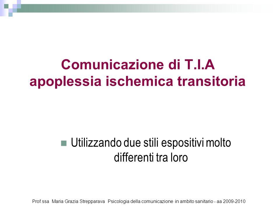 Comunicazione di T.I.A apoplessia ischemica transitoria