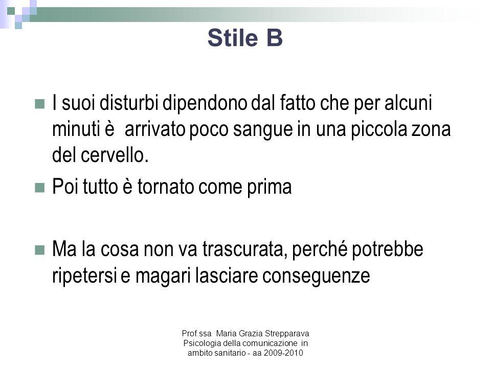 Stile B I suoi disturbi dipendono dal fatto che per alcuni minuti è arrivato poco sangue in una piccola zona del cervello.