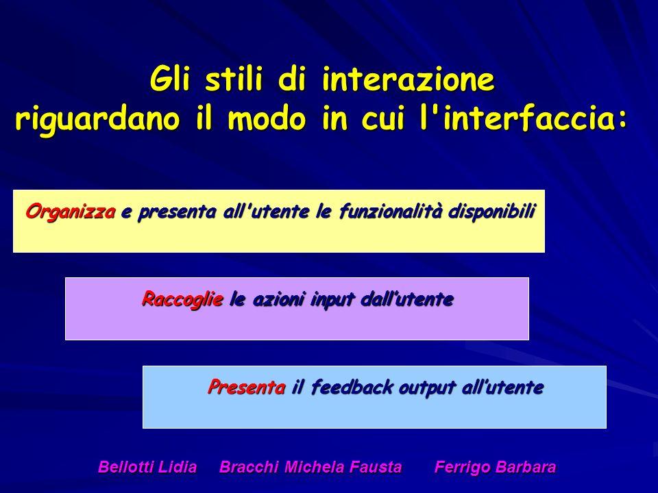 Gli stili di interazione riguardano il modo in cui l interfaccia: