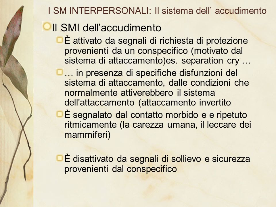I SM INTERPERSONALI: Il sistema dell' accudimento