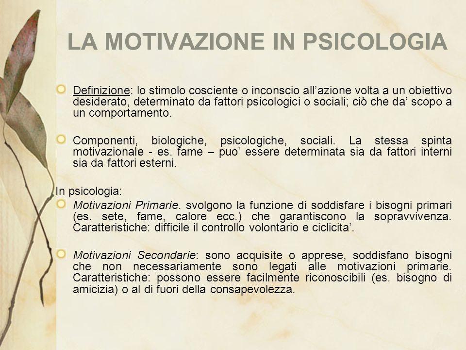 LA MOTIVAZIONE IN PSICOLOGIA