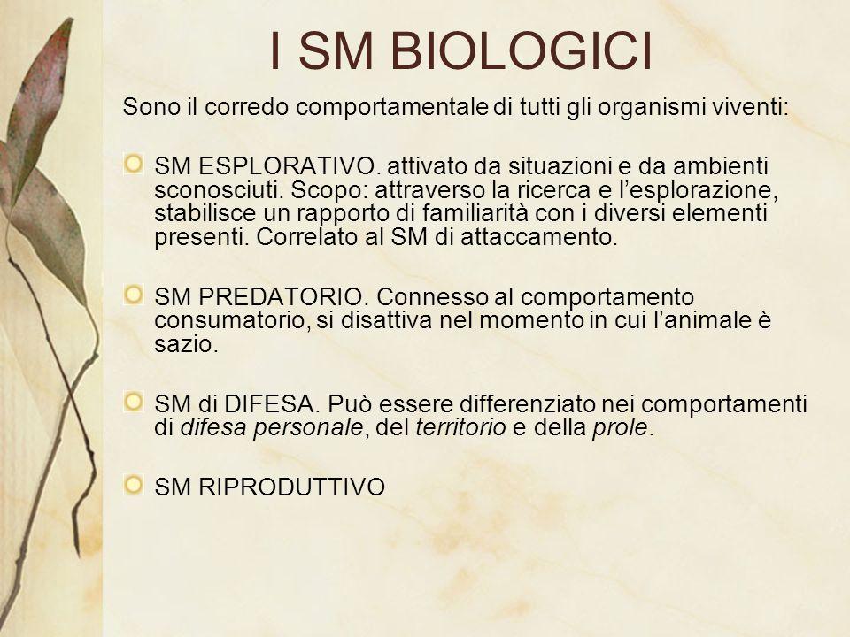 I SM BIOLOGICI Sono il corredo comportamentale di tutti gli organismi viventi: