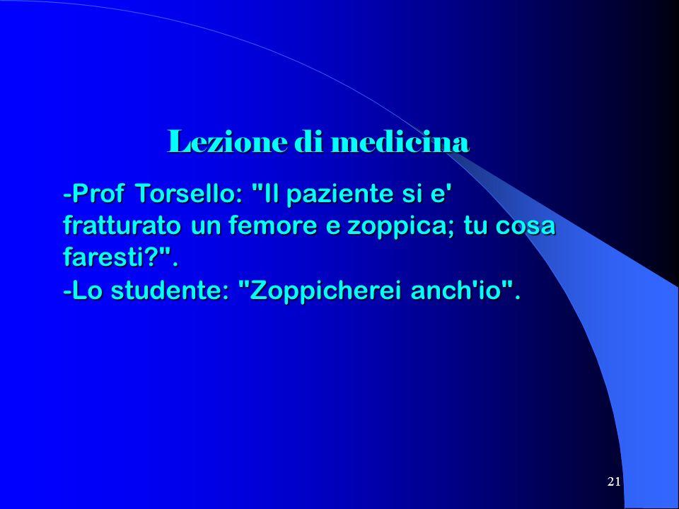 Lezione di medicina -Prof Torsello: Il paziente si e fratturato un femore e zoppica; tu cosa faresti .