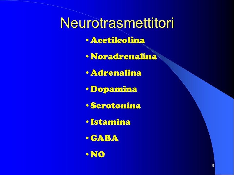 Neurotrasmettitori Acetilcolina Noradrenalina Adrenalina Dopamina