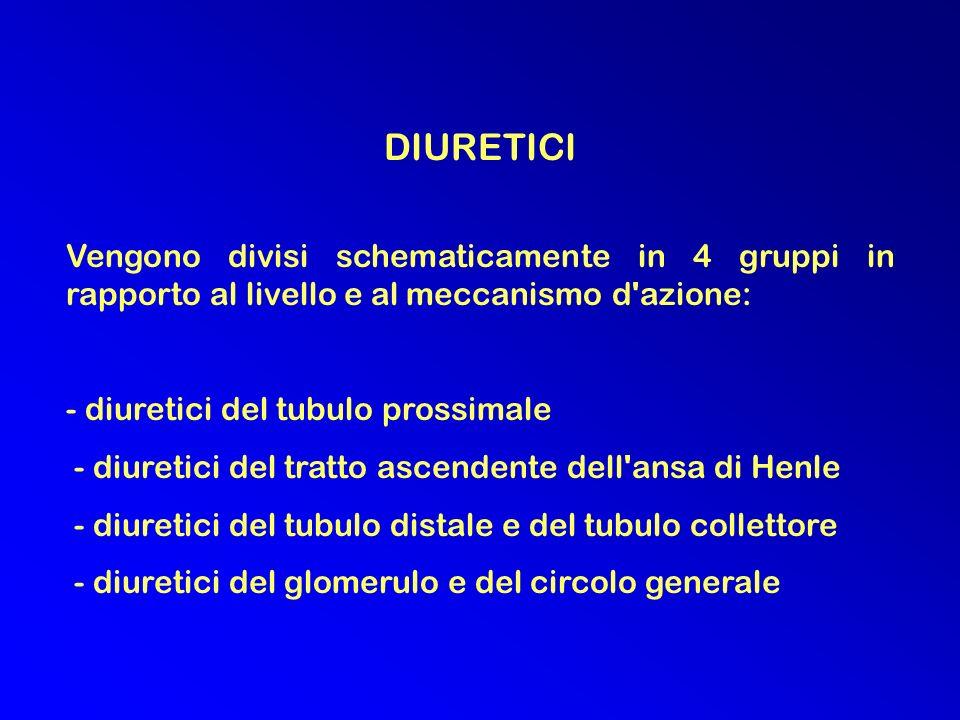 DIURETICI. Vengono divisi schematicamente in 4 gruppi in rapporto al livello e al meccanismo d azione:
