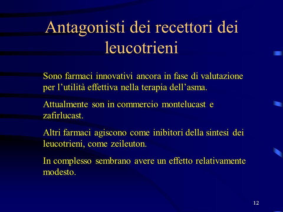 Antagonisti dei recettori dei leucotrieni
