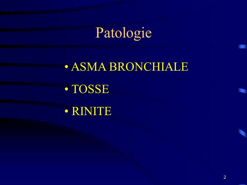 Patologie ASMA BRONCHIALE TOSSE RINITE