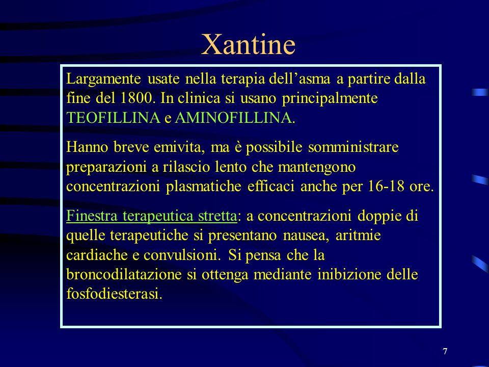 Xantine Largamente usate nella terapia dell'asma a partire dalla fine del 1800. In clinica si usano principalmente TEOFILLINA e AMINOFILLINA.
