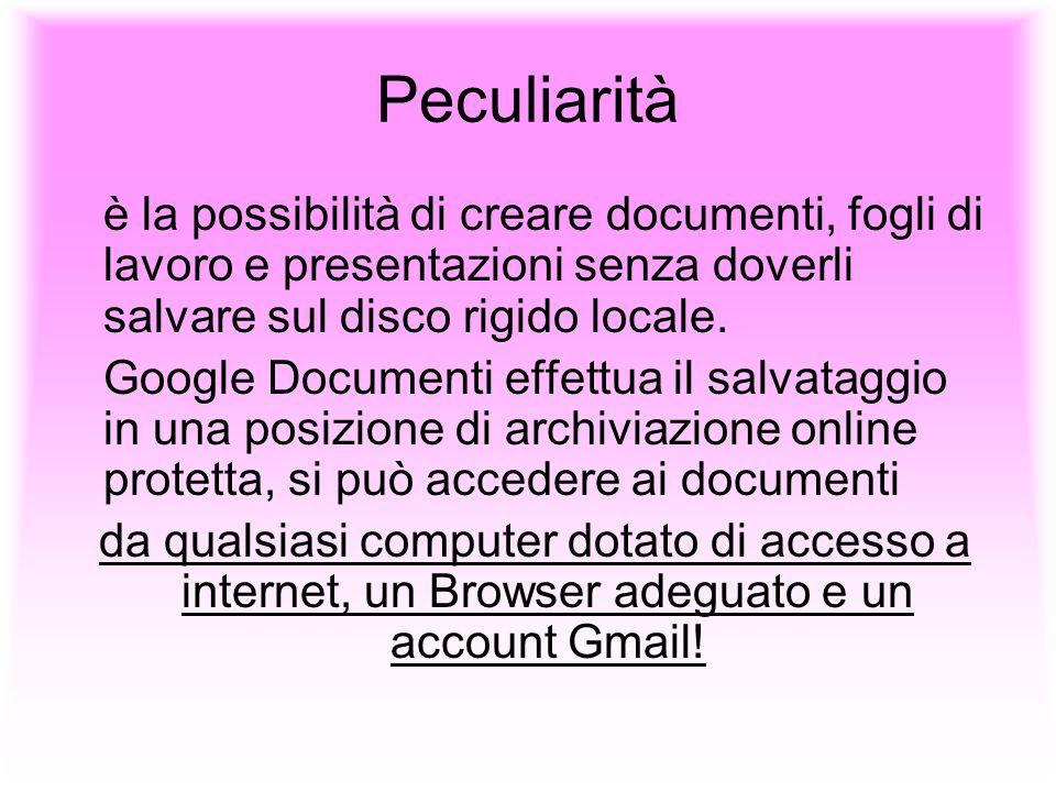 Peculiarità è la possibilità di creare documenti, fogli di lavoro e presentazioni senza doverli salvare sul disco rigido locale.