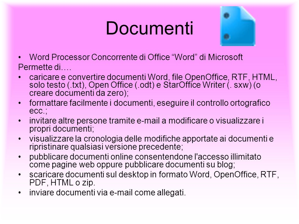 Documenti Word Processor Concorrente di Office Word di Microsoft