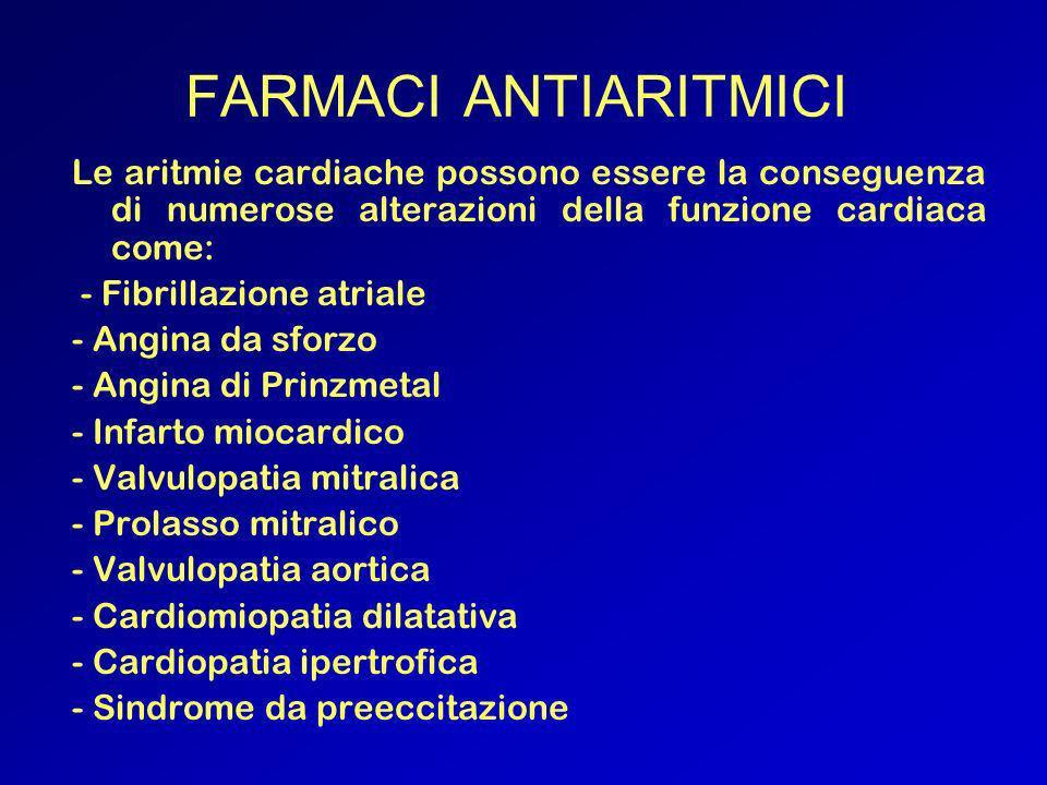 FARMACI ANTIARITMICILe aritmie cardiache possono essere la conseguenza di numerose alterazioni della funzione cardiaca come:
