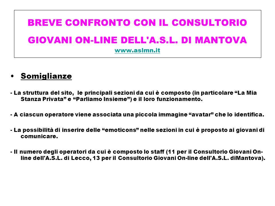 BREVE CONFRONTO CON IL CONSULTORIO GIOVANI ON-LINE DELL A. S. L