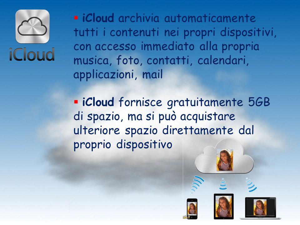 iCloud archivia automaticamente tutti i contenuti nei propri dispositivi, con accesso immediato alla propria musica, foto, contatti, calendari, applicazioni, mail