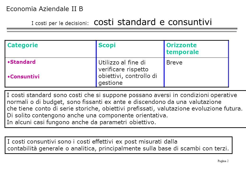 I costi per le decisioni: costi standard e consuntivi