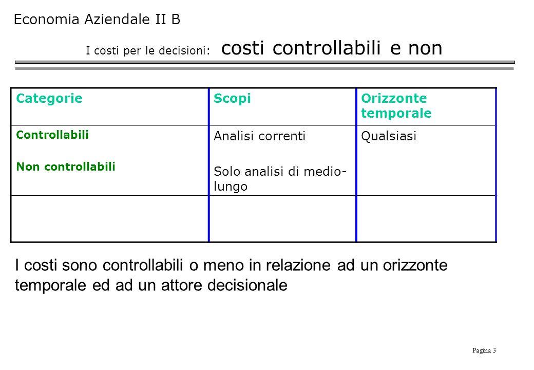 I costi per le decisioni: costi controllabili e non
