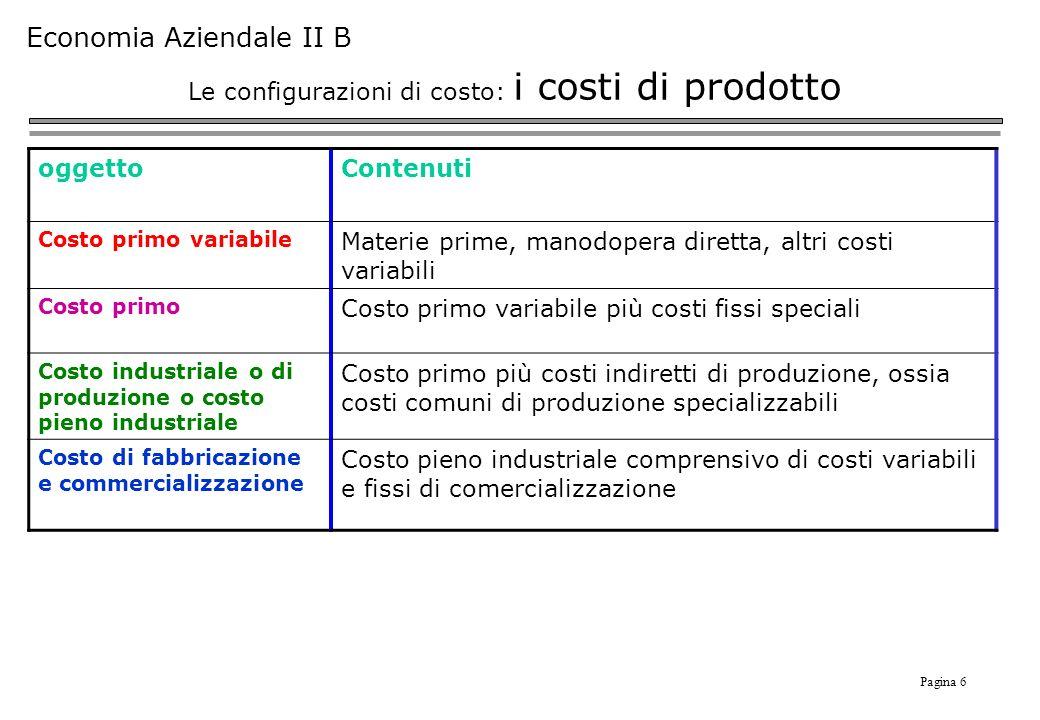 Le configurazioni di costo: i costi di prodotto