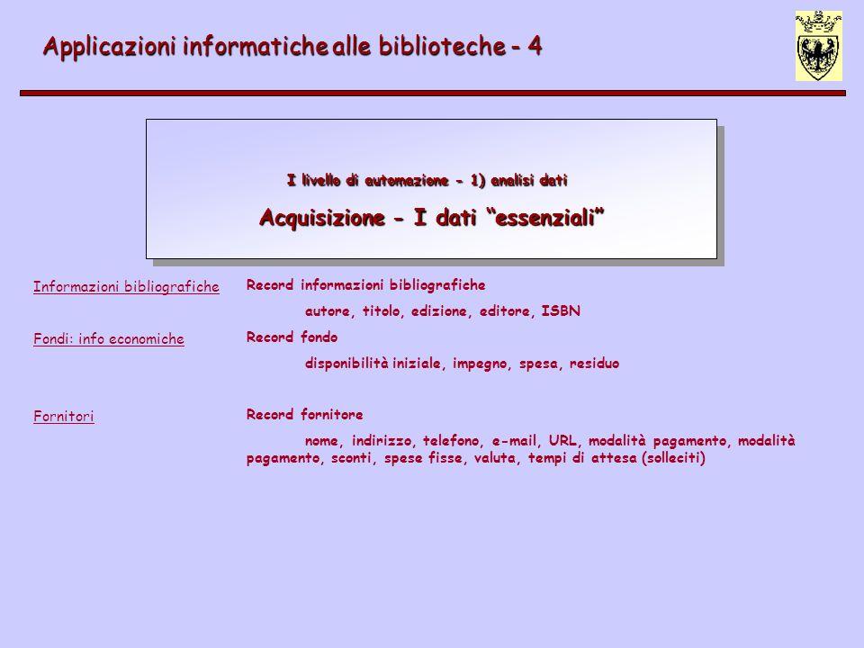 Applicazioni informatiche alle biblioteche - 4