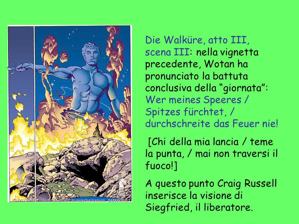 Die Walküre, atto III, scena III: nella vignetta precedente, Wotan ha pronunciato la battuta conclusiva della giornata : Wer meines Speeres / Spitzes fürchtet, / durchschreite das Feuer nie!