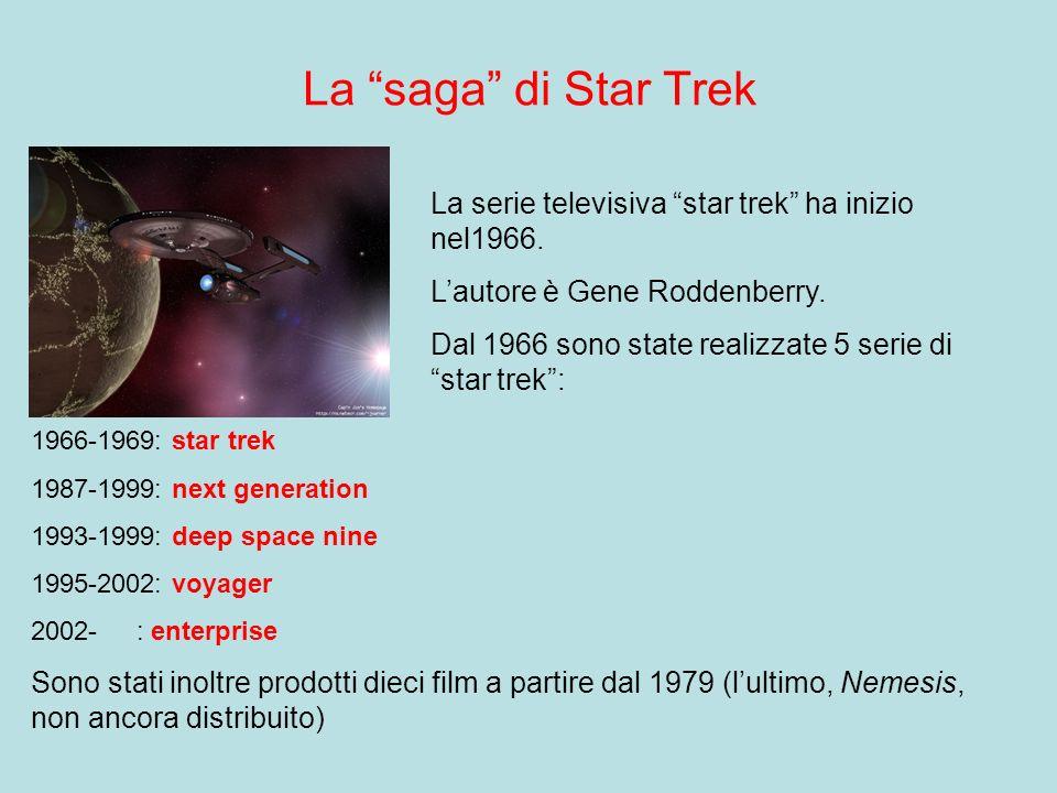 La saga di Star Trek La serie televisiva star trek ha inizio nel1966. L'autore è Gene Roddenberry.