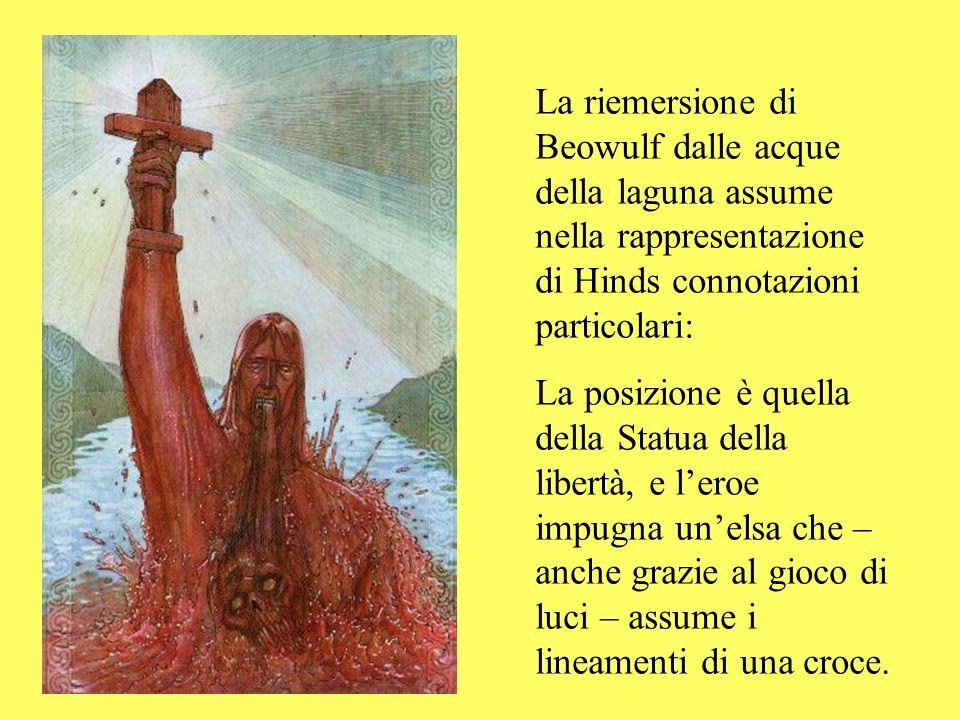 La riemersione di Beowulf dalle acque della laguna assume nella rappresentazione di Hinds connotazioni particolari: