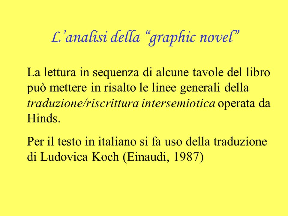 L'analisi della graphic novel