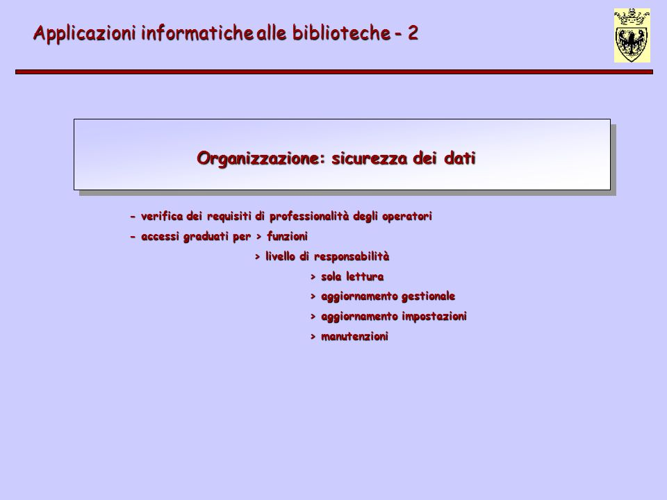 Organizzazione: sicurezza dei dati