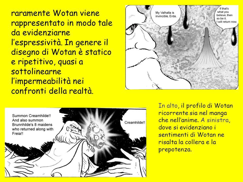 raramente Wotan viene rappresentato in modo tale da evidenziarne l'espressività. In genere il disegno di Wotan è statico e ripetitivo, quasi a sottolinearne l'impermeabilità nei confronti della realtà.
