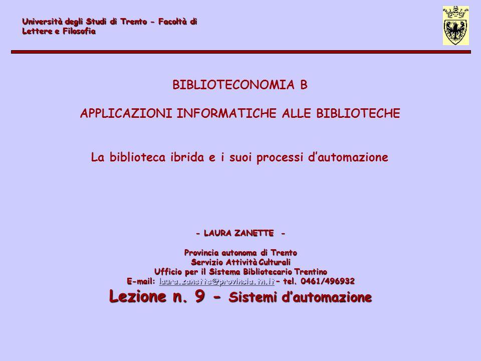 Lezione n. 9 - Sistemi d'automazione