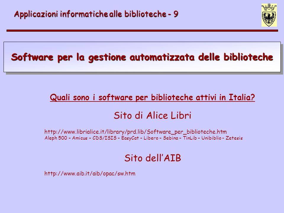 Software per la gestione automatizzata delle biblioteche