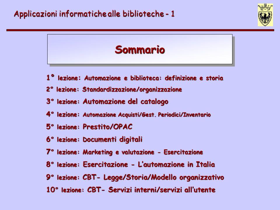 Sommario Applicazioni informatiche alle biblioteche - 1