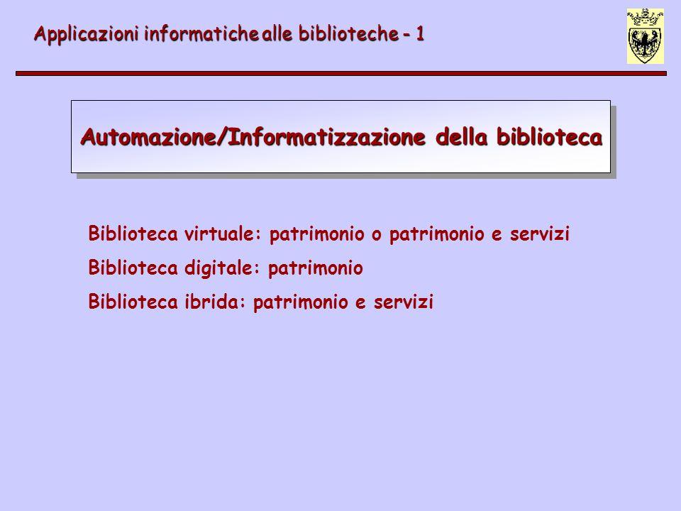 Automazione/Informatizzazione della biblioteca