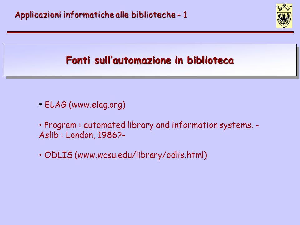 Fonti sull'automazione in biblioteca