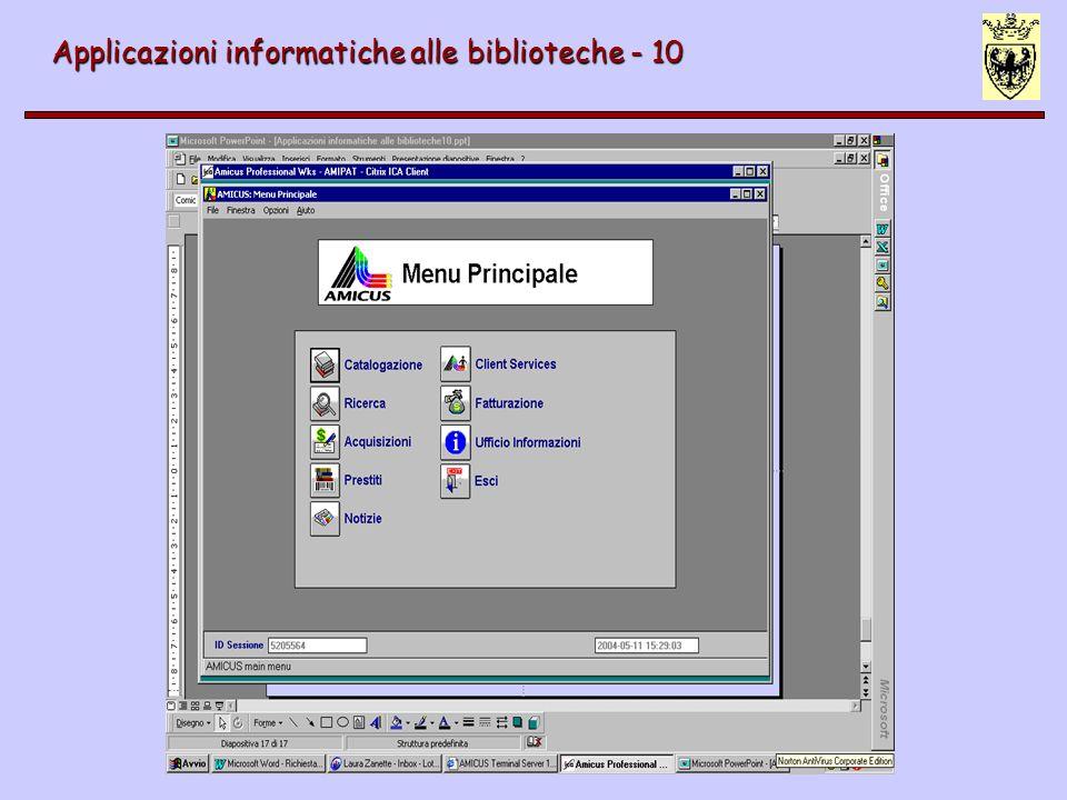 Applicazioni informatiche alle biblioteche - 10