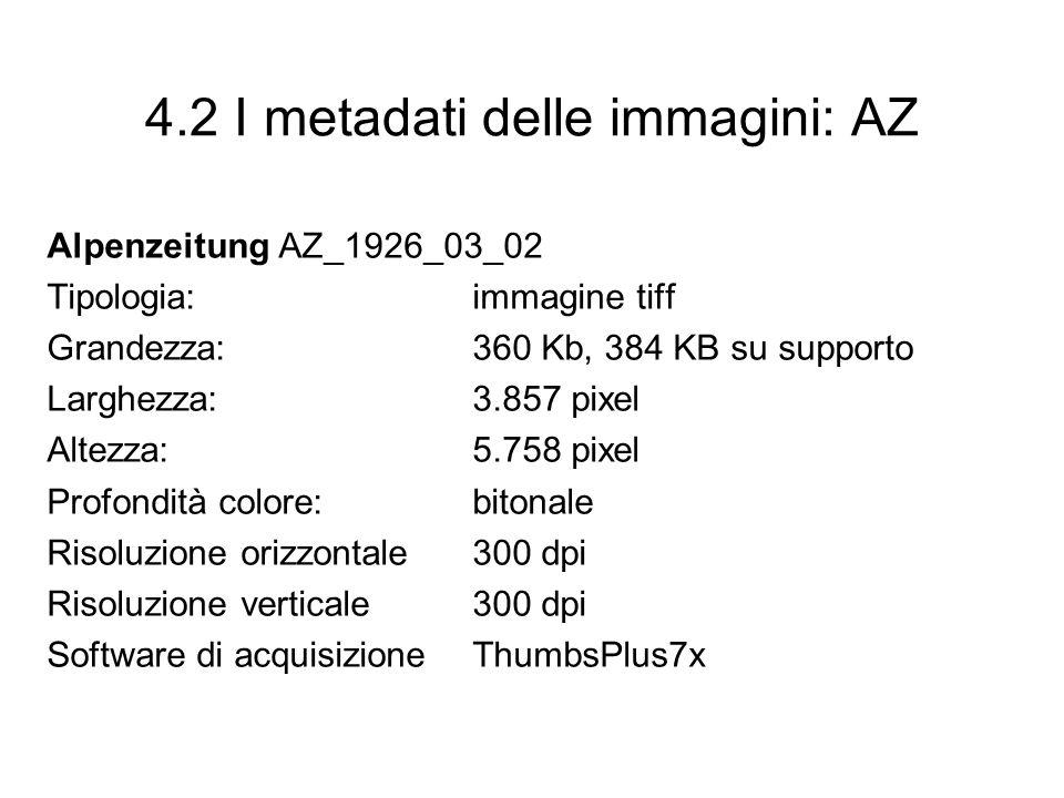 4.2 I metadati delle immagini: AZ