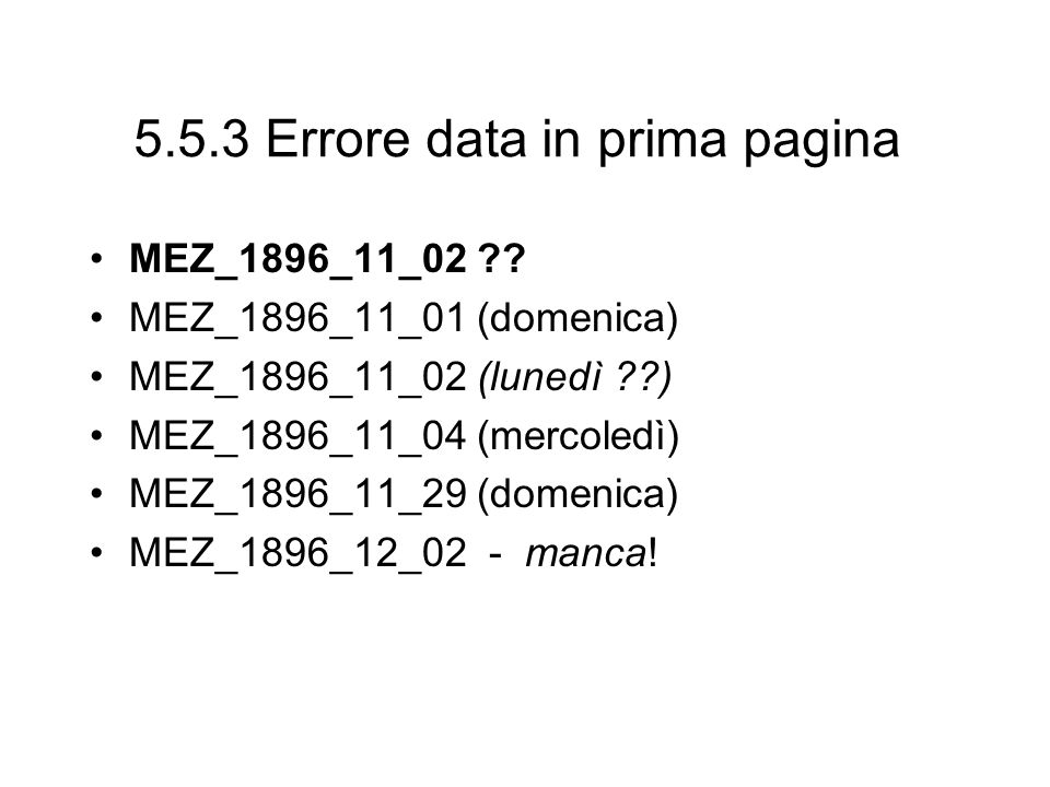 5.5.3 Errore data in prima pagina