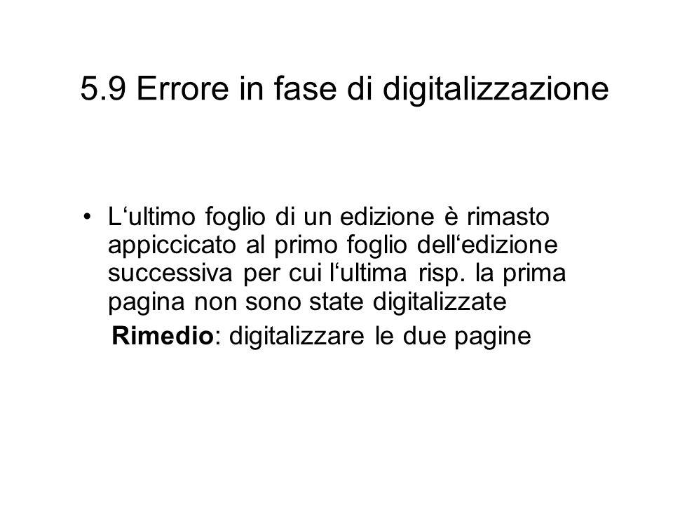 5.9 Errore in fase di digitalizzazione