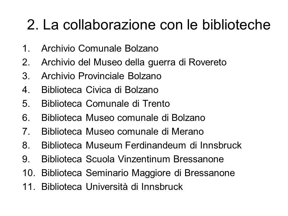 2. La collaborazione con le biblioteche