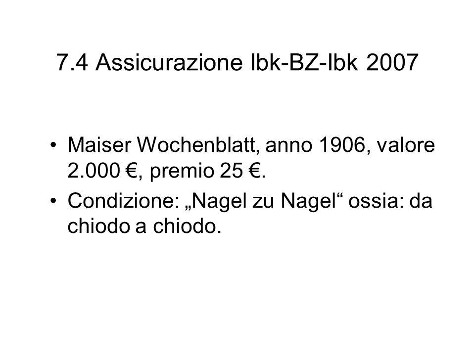 7.4 Assicurazione Ibk-BZ-Ibk 2007
