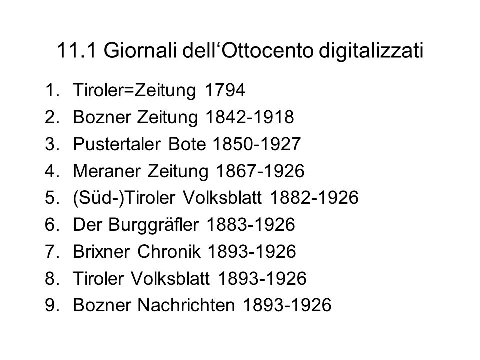 11.1 Giornali dell'Ottocento digitalizzati