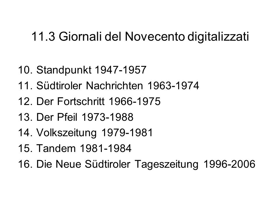 11.3 Giornali del Novecento digitalizzati