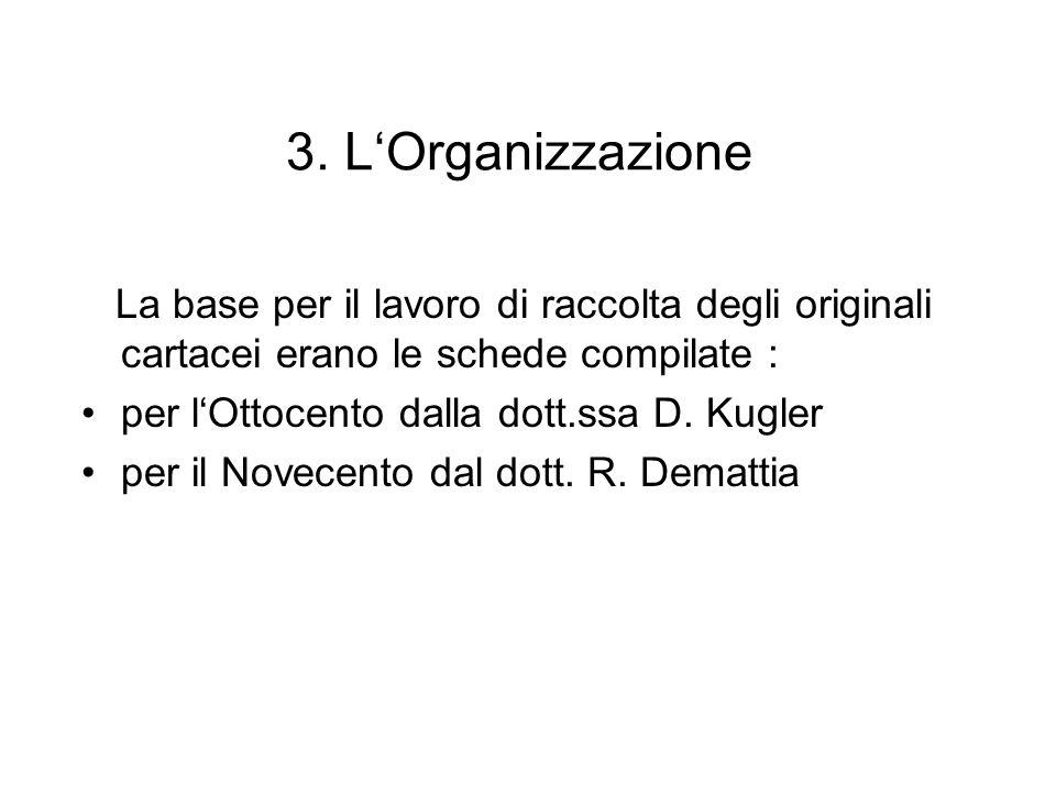 3. L'Organizzazione La base per il lavoro di raccolta degli originali cartacei erano le schede compilate :