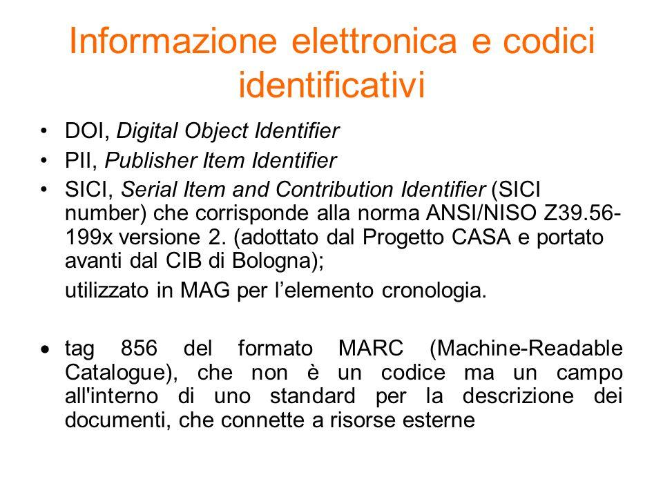 Informazione elettronica e codici identificativi