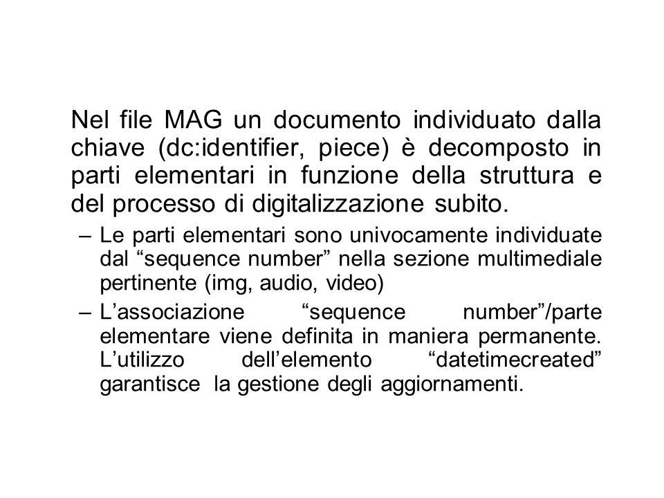 Nel file MAG un documento individuato dalla chiave (dc:identifier, piece) è decomposto in parti elementari in funzione della struttura e del processo di digitalizzazione subito.