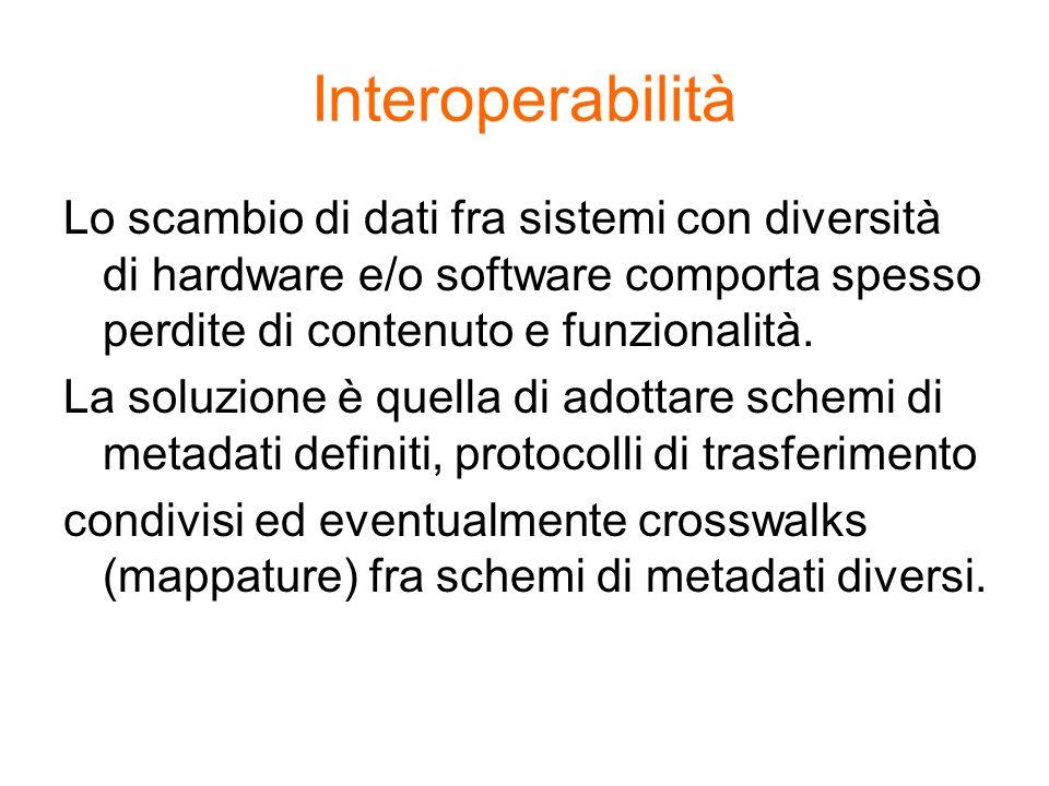 Interoperabilità Lo scambio di dati fra sistemi con diversità di hardware e/o software comporta spesso perdite di contenuto e funzionalità.