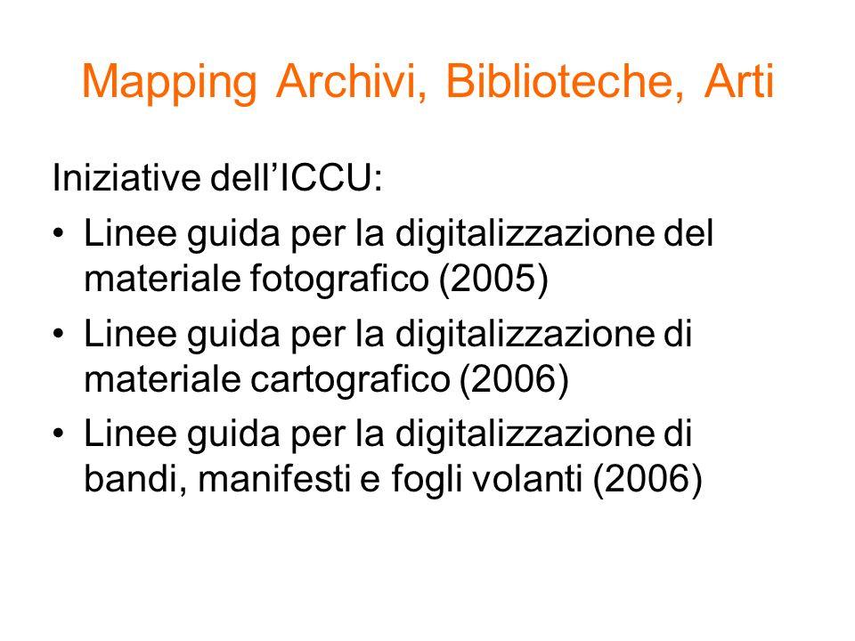 Mapping Archivi, Biblioteche, Arti